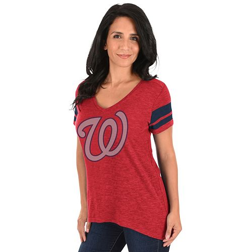 Women's Majestic Washington Nationals Check the Tape Tee