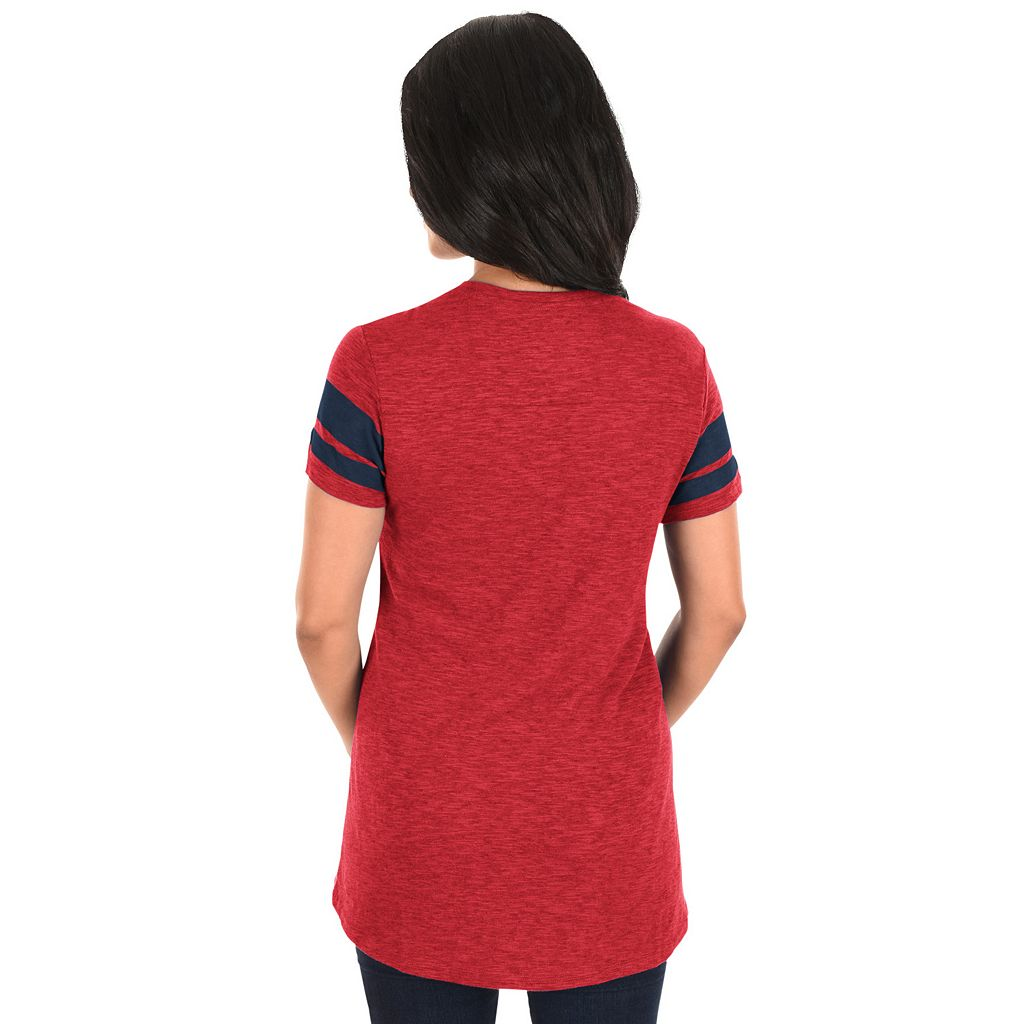 Women's Majestic Los Angeles Angels of Anaheim Check the Tape Tee