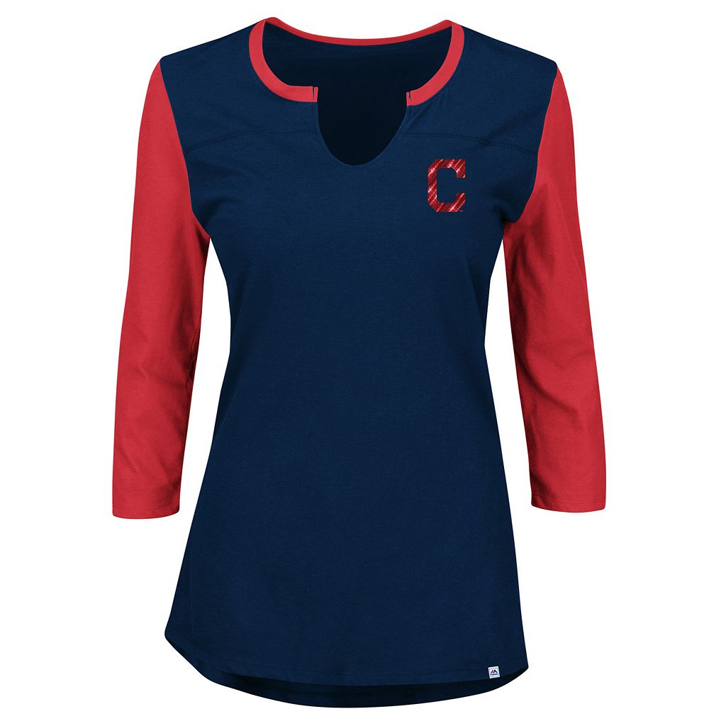 Women's Majestic Cleveland Indians Above Average Tee