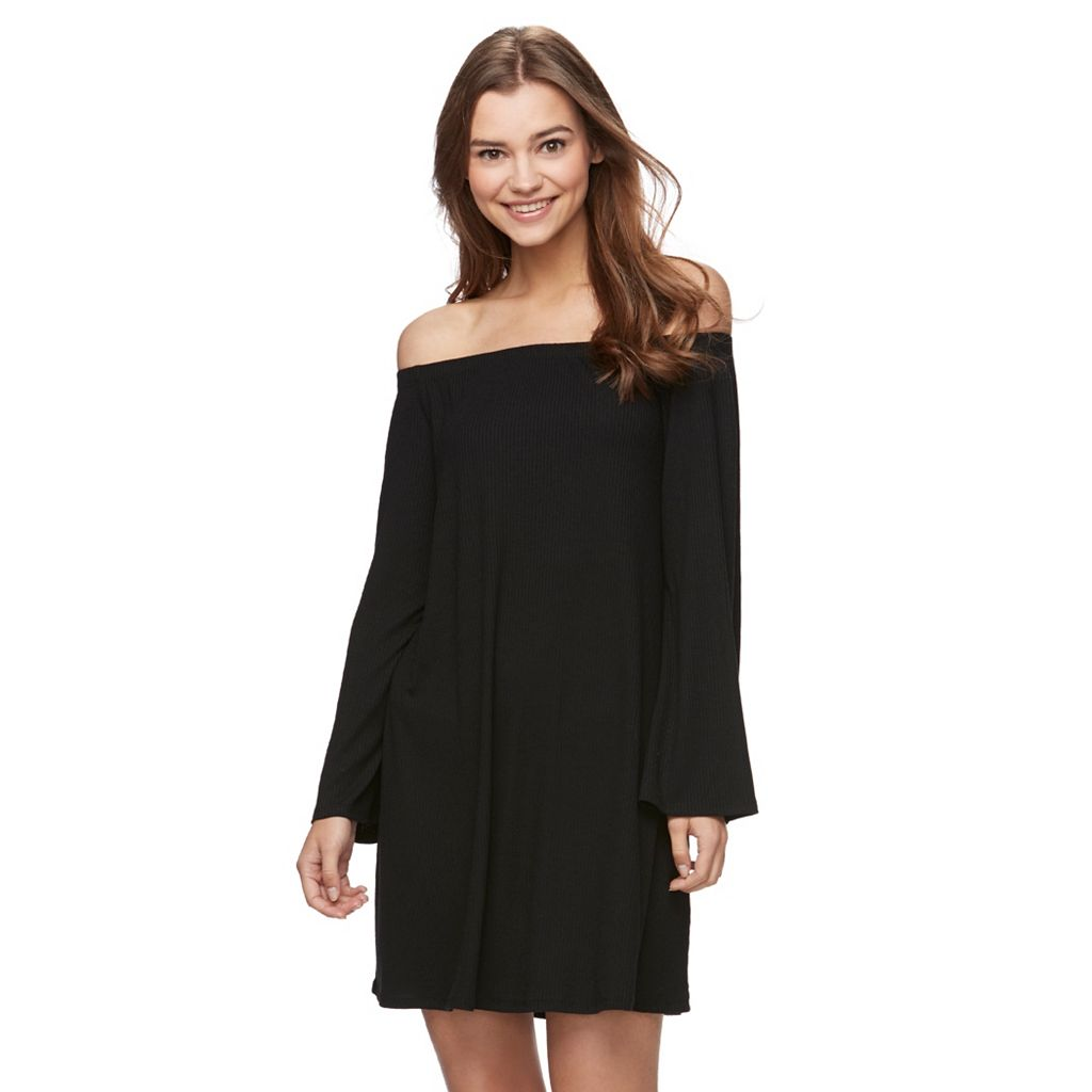 Juniors' Love, Fire Knit Off The Shoulder Dress