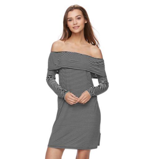 Juniors' Love, Fire Striped Off The Shoulder Dress