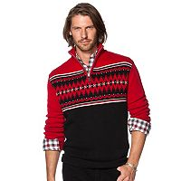 Men's Chaps Classic-Fit Fairisle Quarter-Zip Pullover