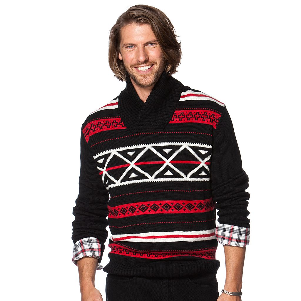 Men's Chaps Classic-Fit Nordic-Inspired Shawl-Collar Sweater