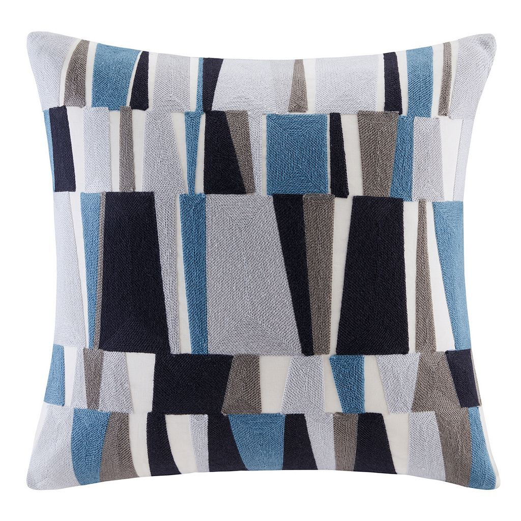 INK+IVY Lars Stripe Embroidered Throw Pillow