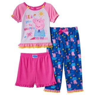 Toddler Girl Peppa Pig 3-pc. Ruffle Pajama Set