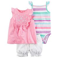 Baby Girl Carter's Embroidered Floral Tank Top, Striped Bodysuit & Shorts Set