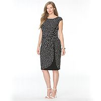 Plus Size Chaps Polka-Dot Tulip-Hem Dress