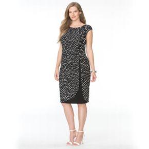 Plus Size Chaps Polka-Dot Tulip-Hem Dress