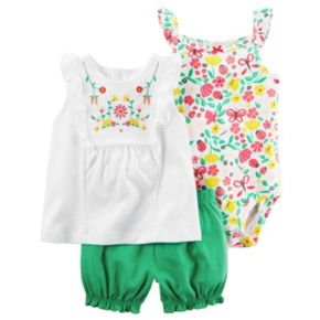 Baby Girl Carter's Embroidered Tank Top, Floral Bodysuit & Bubble Shorts Set