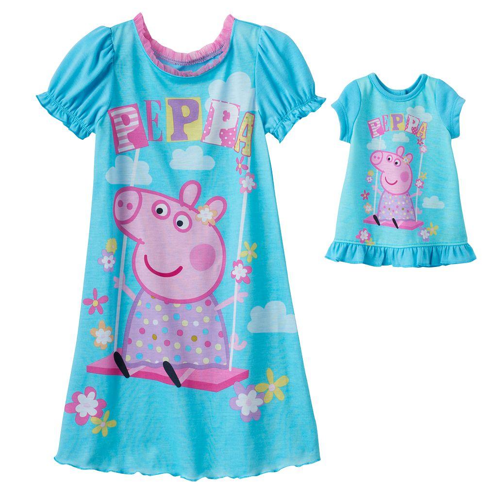 Toddler Girl Peppa Pig Dorm Nightgown & Doll Dress Set