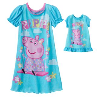 Toddler Girl Peppa Pig Dorm Nightgown & Doll Dress Set