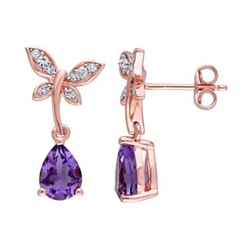 Laura Ashley Pink Sterling Silver Amethyst & White Sapphire Dragonfly Drop Earrings