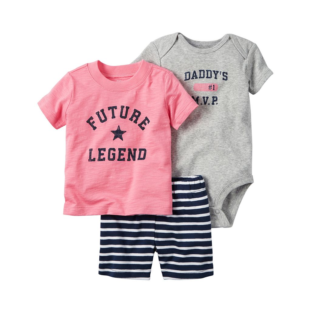 Baby Boy Carter's Graphic Bodysuit, Slubbed Tee & Striped Shorts Set