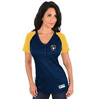 Women's Majestic Milwaukee Brewers League Diva Raglan Tee