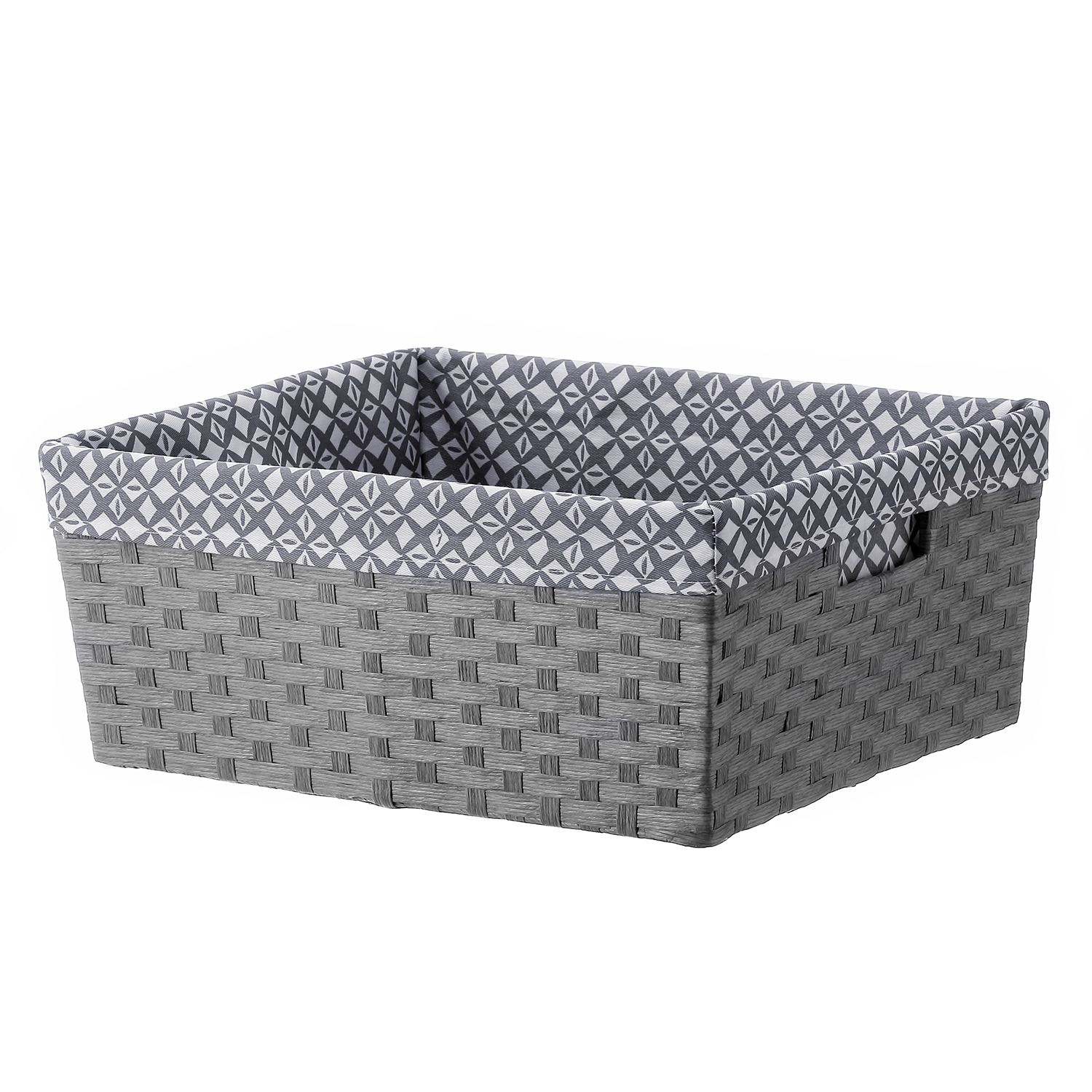 Basketville Storage Bin. Gray Aqua