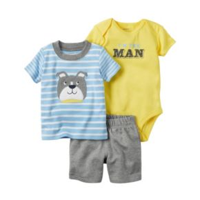 "Baby Boy Carter's ""I'm The Man"" Graphic Bodysuit, Striped Tee & Shorts Set"
