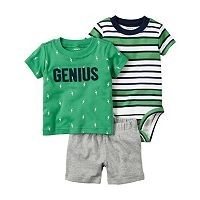 Baby Boy Carter's Striped Bodysuit, Graphic Tee & Shorts Set