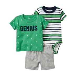 Baby Boy Carter's Striped Bodysuit, Graphic Tee & Shorts Set