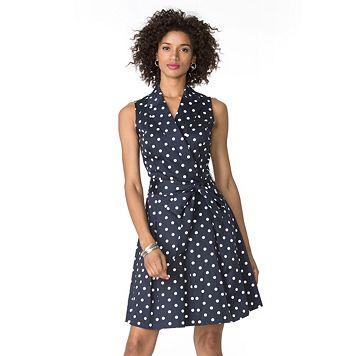 Petite Chaps Polka-Dot Sateen Dress