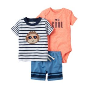 """Baby Boy Carter's """"Mr. Cool"""" Graphic Bodysuit, Striped Tee & Shorts Set"""