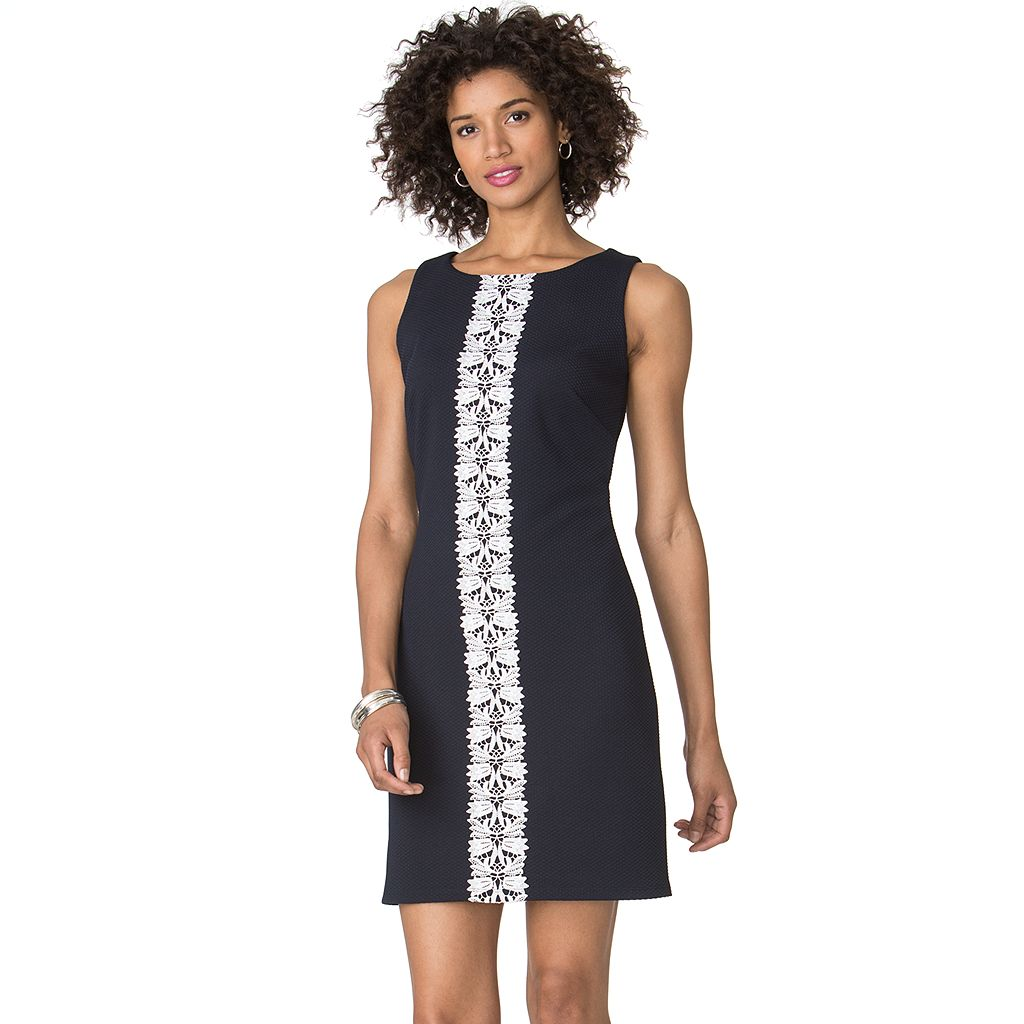 Petite Chaps Lace-Trim Jacquard Dress