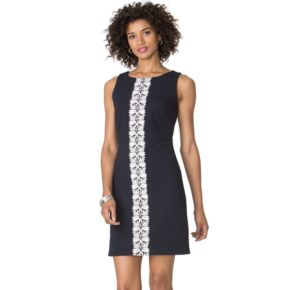 Petite Chaps Lace-Trim Jacquard Dress