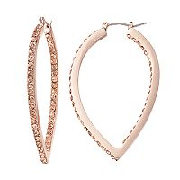 Jennifer Lopez Pink Simulated Crystal Inside Out Teardrop Hoop Earrings