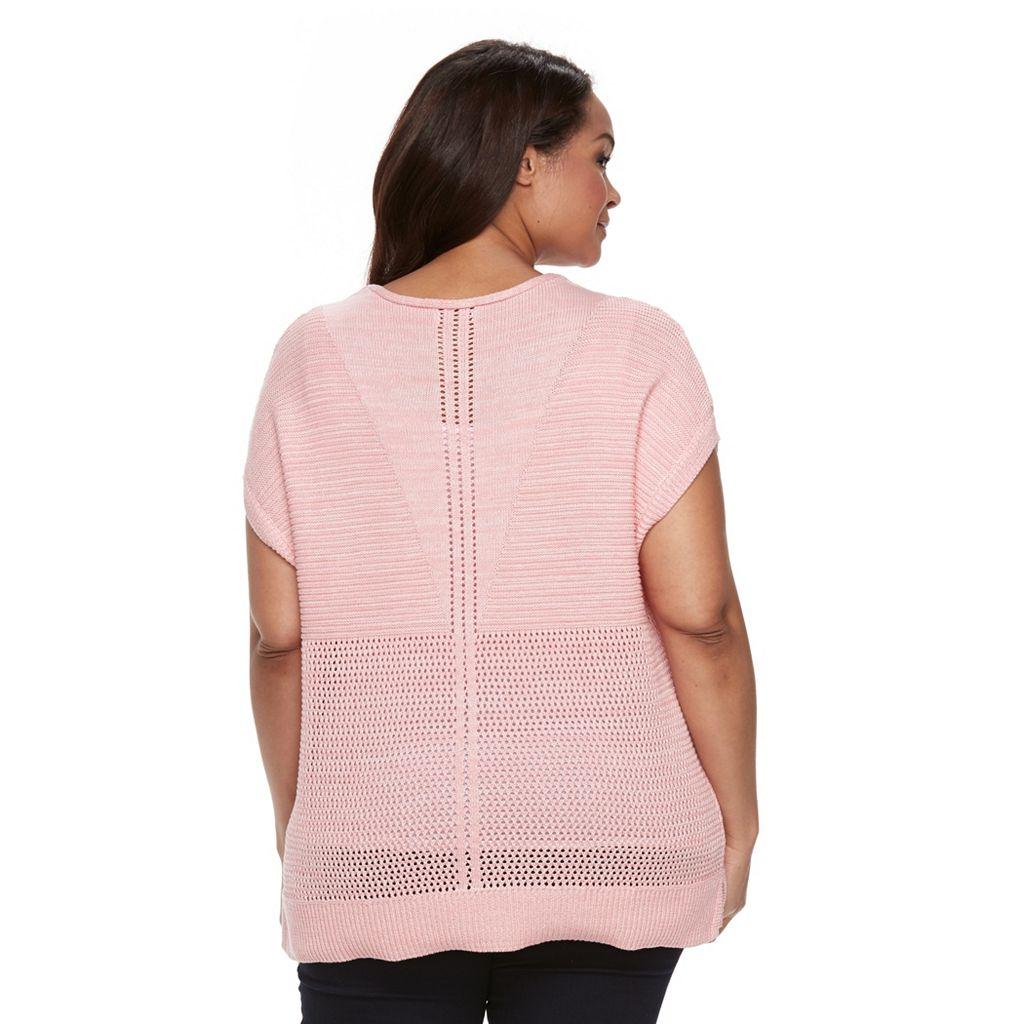 Plus Size Croft & Barrow® Dolman Pointelle Sweater