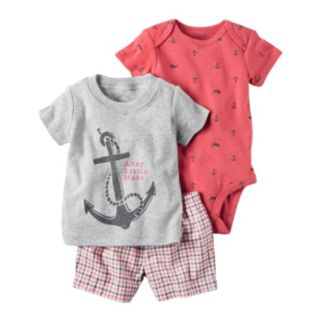 "Baby Boy Carter's ""Ahoy Little Mate"" Anchor Tee, Print Bodysuit & Plaid Shorts Set"