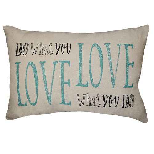 Spencer Home Decor ''Do What You Love'' Oblong Throw Pillow