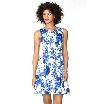 Petite Chaps Floral Sateen Fit & Flare Dress