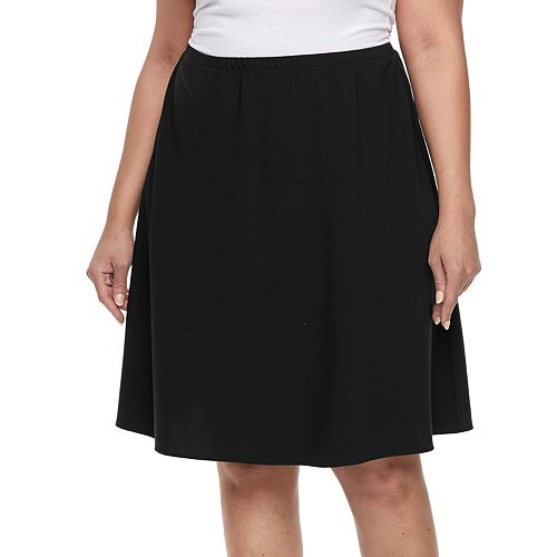 Plus Size Briggs Comfort Waistband A-Line Skirt