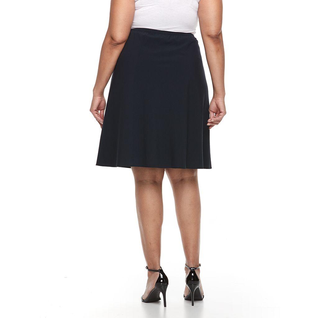 Plus Size Briggs Comfort Waistband A-Line Skirt
