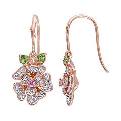 Laura Ashley Sterling Silver Gemstone Flower Drop Earrings