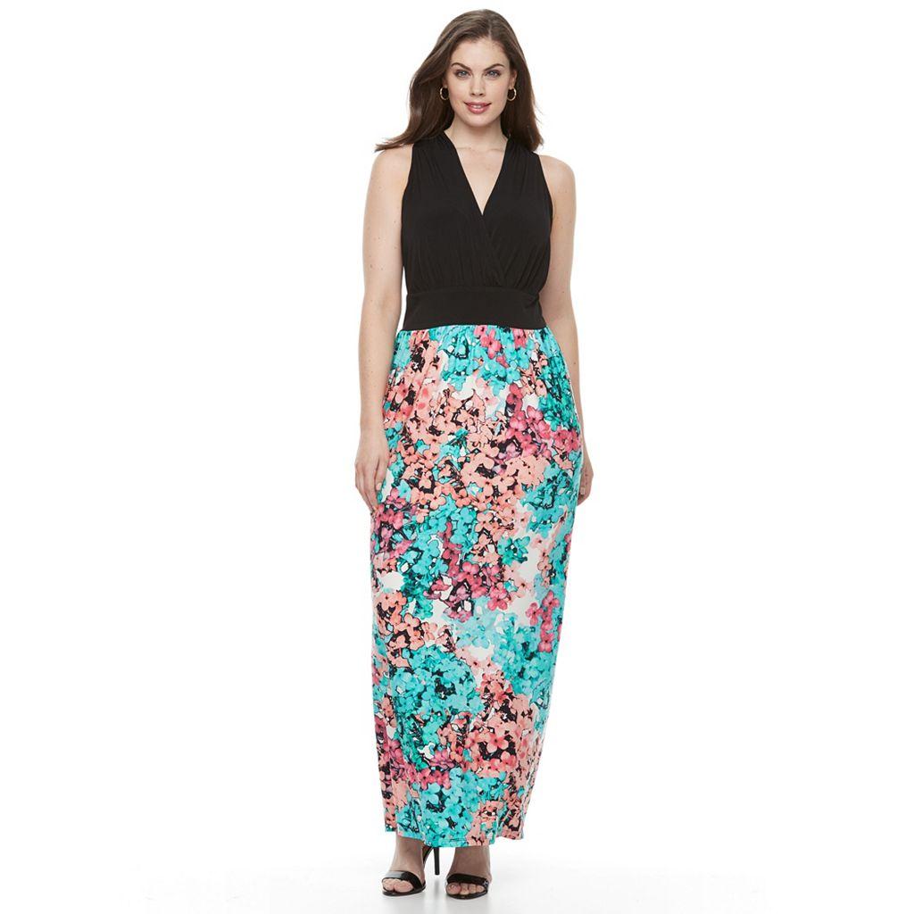 Plus Size Suite 7 Floral Shirred Maxi Dress