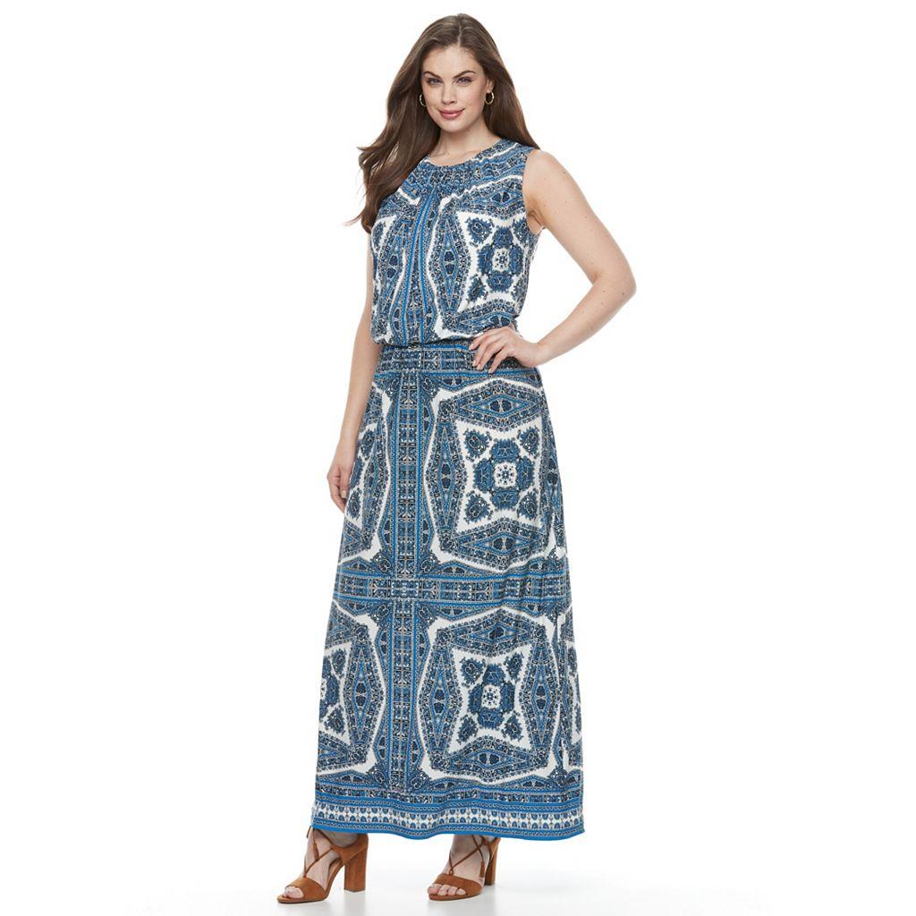 Plus Size Suite 7 Paisley Blouson Maxi Dress