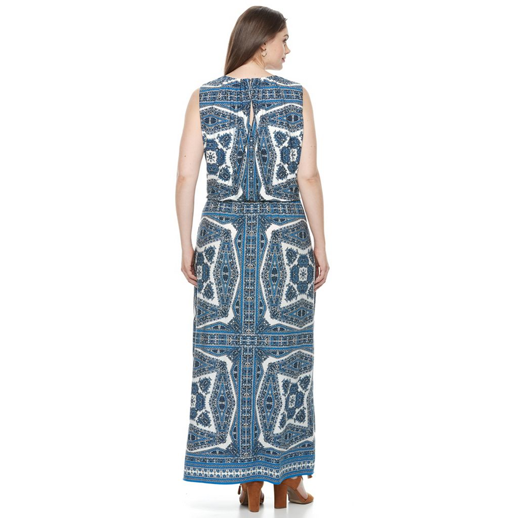 Plus Size Suite 7 Paisley Blouson Maxi Dress