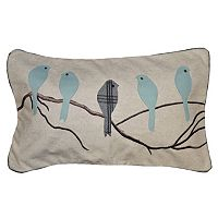 Spencer Home Decor Madelyn Birds Applique Oblong Throw Pillow
