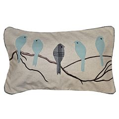 Spencer Home Decor Madelyn Birds Applique Oblong Throw Pillow