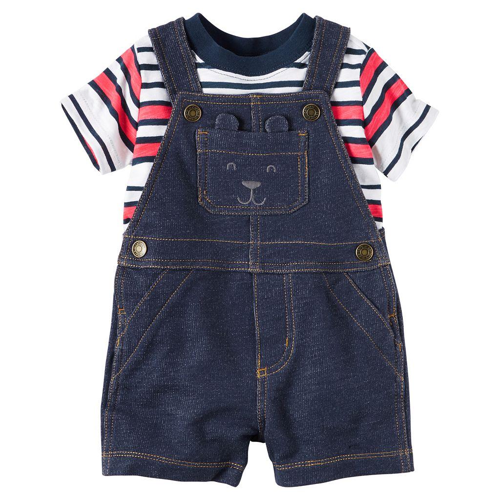 Baby Boy Carter's Striped Tee & Denim-Like Shortalls Set