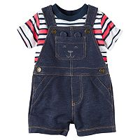 Baby Boy Carter's Striped Tee & Denim-Like Shortalls Set