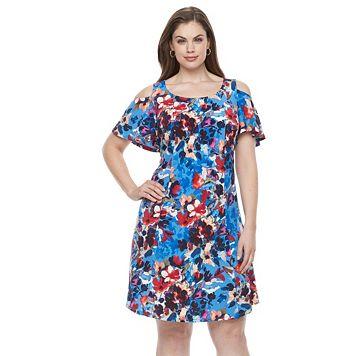 Plus Size Suite 7 Floral Cold-Shoulder A-Line Dress