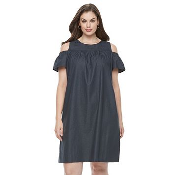 Plus Size Suite 7 Cold-Shoulder Shift Dress