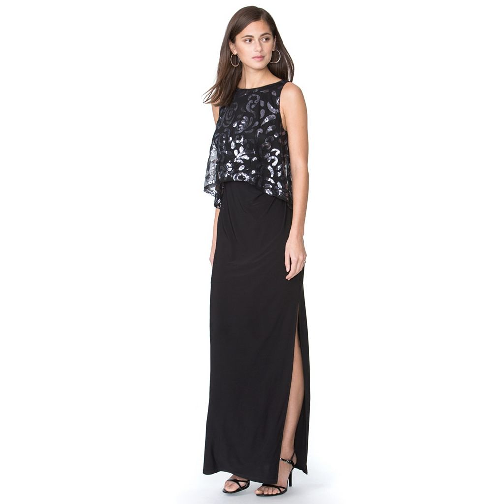 Women's Chaps Sequin Overlay Evening Gown