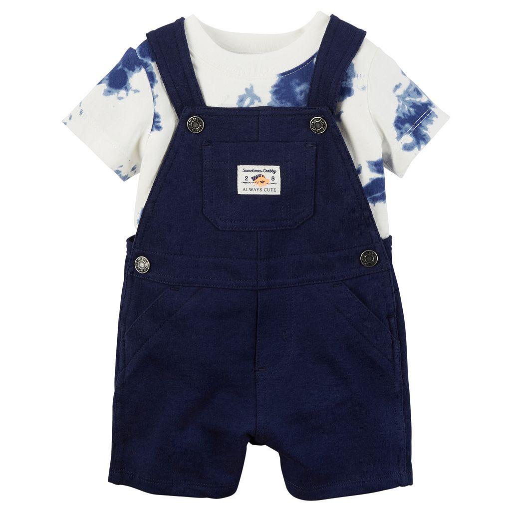 Baby Boy Carter's Tie-Dye Tee & Solid Shortalls Set