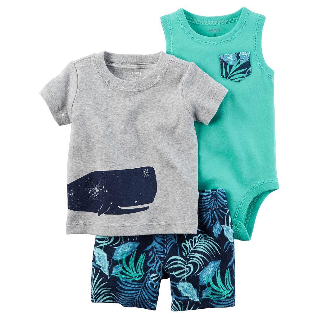 Baby Boy Carter's Whale Tee, Bodysuit & Leaf-Print Shorts Set
