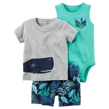 Baby Boy Carter's Whale Tee, Bodysuit & Leaf-Print Shorts Set