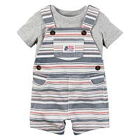 Baby Boy Carter's Solid Tee & Striped Shortalls Set
