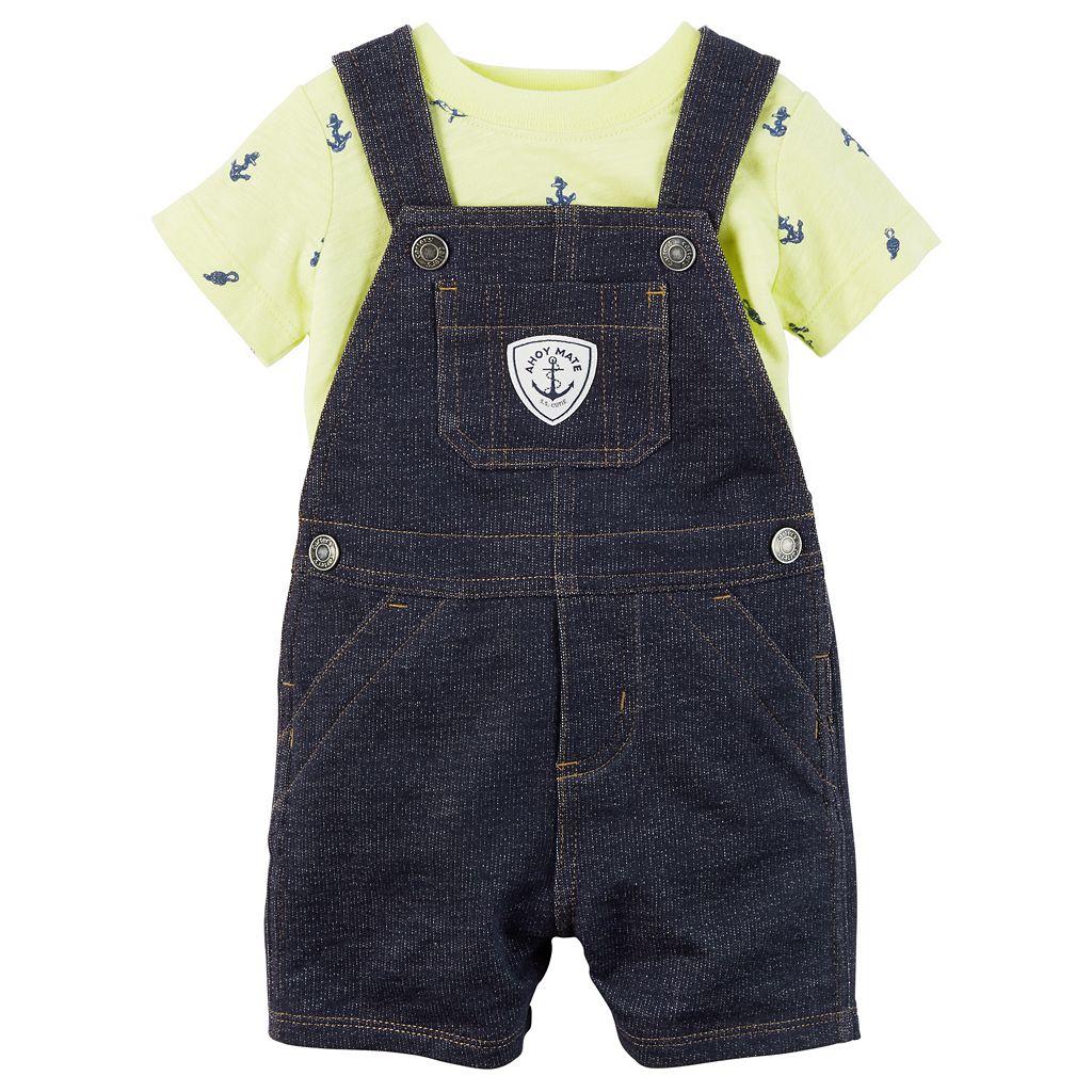 Baby Boy Carter's Anchor Tee & Denim-Like Shortalls Set
