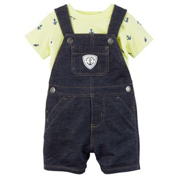 Baby Boy Carter's Anchor Tee & Denim-Like Shortalls Set